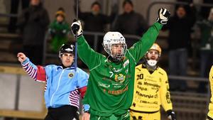 Jesper Jonsson jublar efter sitt 1–0-mål på Zinkensdamm. Bild: Claudio Bresciani / TT.