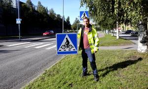 Norrmalmsgatan fick en ny cykelöverfart under hösten.