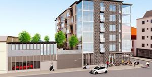 Inom någon månad kan det vara dags för säljstart av 30 lägenheter i centrala Örnsköldsvik. Skiss: HSB