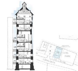 Här en skiss hur det kan komma att se ut om tornet säljs och det byggs lägenheter där. De boende lär få en vidunderlig utsikt, i synnerhet de som bor längst upp. Skissen finns med i planbeskrivningen hos Samhällsbyggnad Bergslagen som just nu genomför detaljplaneprocess inför bygget av äldreboendet Rosen. Illustration: Arkitektur & Byggnadsvård i Örebro
