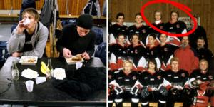 Till vänster är det Carl Gunnarsson och Emil Axelsson som äter middag efter en bortamatch mot Bofors IK. Till höger är det när de spelade i HC Örebro U16.