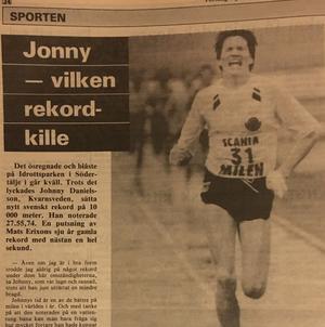 Faksimil från Falu-Kuriren den 8 juni 1989 om rekordkillen Jonny Danielsson.