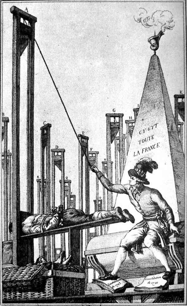 En svartsynt satir över Maximilien de Robespierres framfart över Frankrike. Här avrättar han till sist bödeln efter att ha skickat alla andra fransmän till giljotinen. Okänd konstnär.