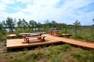 Fyra fikabord och en bänk möter besökarna på plattformen.