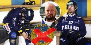 Elias Engholm och Aksel Örn Ekblom deppar efter en av alla förluster under säsongen. Sportchefen Patrik Järmens är infälld. Bild: Nils Petter Nilsson (TT) / Christoffer Million