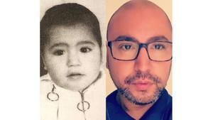 Andreas som litet barn – och som vuxen.