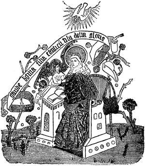 Heliga Birgitta får en uppenbarelse. Illustration ur Nordisk familjebok (1905) efter medeltida målning.
