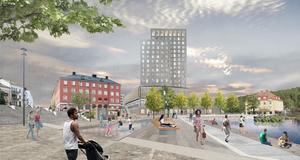 16-våningshotellet vid Marenolan är tänkt att ligga öster om Castorhuset. Skiss: Södertälje kommun