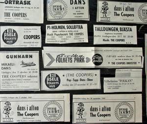 Exempel på The Coopers dansannonser sparade av Jan-Erik Sellgren.
