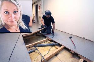 Enligt förskolechef Ulrika Bilow Haglund blir det besvärligt om det dröjer lång tid att reparera det vattenskadade golvet på Mullhyttans förskola. Fotomontage: NA