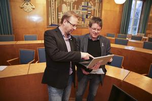 Kommunalrådskollegorna HåGe Persson (M) och Leif Pettersson (S).