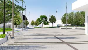 Sjötullstorget med vy mot stadskärnan och Sjötullsgatan. Torgytan kommer att stensättas, bänkar och planteringar samt ett konstverk kommer att pryda torget. Till vänster anar man de konstgjorda klipporna som blir längs kajen. Delar av kajen, till och med den sträcka där ss Norrtelje brukar ligga, ska färdigställas under sommaren. –Norrtäljebåten flyttar tillbaka till sin ordinarie plats i slutet av september, då ska den första delen av kajen vara klar, säger Pernilla Logren.