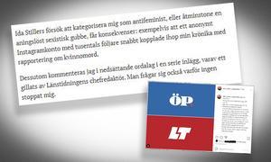 Skärmdumpar från texten som publicerades på ÖP och Instagraminlägget som LT:s chefredaktör gillade.