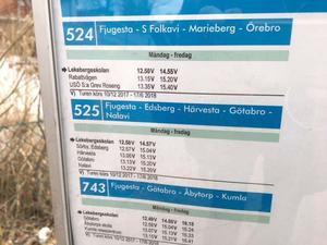 Linje 525. Fjugesta-Nalavi läggs ner i juni. Länstrafiken anser inte att det är ekonomiskt försvarbart att fortsätta med så få resande.