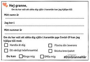 """Brevet att lägga i grannars brevlåda finns på bland annat i Ljungby anslagstavlas Facebooksgrupp och på Facebooksidan – Corona Älmhult """"Ingen kan göra allt men alla kan göra något"""""""