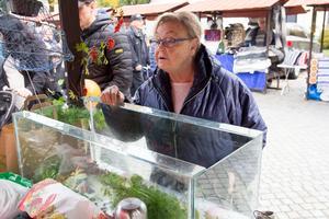Marianne Thelberg köper kräftor av Lars Löfgren med lantbruk i Södra Lunger.