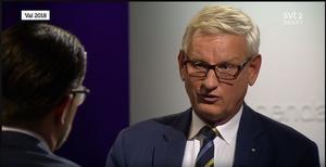 Carl Bildt är stolt hallänning, svensk och europé. Han tror på samarbete i denna farliga tid. till skillnad från Jimmie Åkesson. Skärmdump från SVT:s Agenda.