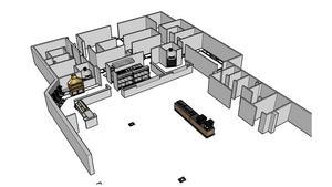 Restaurangdelen med tre kök (och tre kassor) placeras längst in i lokalen. Byggnationen till höger i bild är för toaletter, och till höger om dessa finns planer på en lekhörna. Illustration: Wokk