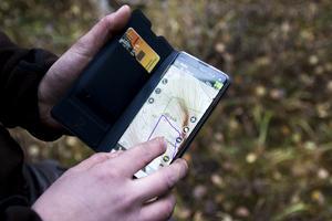 Jaktlaget använder sig av en app för att hålla koll på hundarnas riktning.