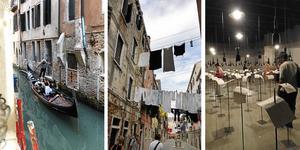 Venedig med gondoler och konstbiennal.