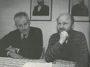 Stig Henriksson (V) tillsammans med den då blivande viceordföranden i kommunstyrelsen, Hugo Wretskog (M).
