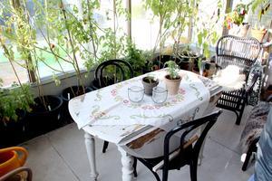 Växthuset med tomater och chilli går att värma upp.