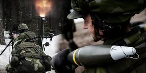 Militärövning i Falu skjutfält.