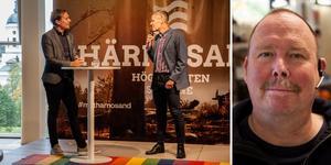 Nytillträdda  kommunchefen Lars Liljedahl välkomnades av moderatorn Tobias Wikström vid en företagsfrukost där även Härnösandsföretagaren Christer Norberg medverkade.
