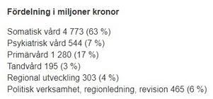Så här fördelar sig regionens kostnader. (Skärmdump, Region Västernorrlands hemsida, 4/11-19)