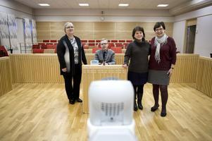 Förvaltningsrättens chef Johan Montelius tillsammans med tre nämndemän - Inger Olenius, Anna Jörgensen och Kristina Wahlén.