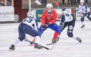 Kalle Jonsson med tröja 43 i Rättvik i vintras.