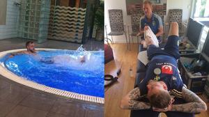 John Guidetti kämpar med rehabträningen i poolen, och pysslas om av det medicinska teamet. Bild: Johan Allgulander.