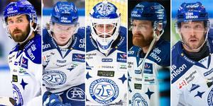 Mattias Karlsson, Calle Själin, Axel Brage, Mattias Ritola och Linus Persson är alla på skadelistan i Leksands herrlag. Foto: Bildbyrån.