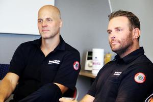 Anders Andersson och Hans Nornholm är två av 140 personer från Gästrike räddningstjänst som har hjälpt till i släckningsarbetet i Hälsingland.