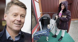 Jens Törnberg, vd och ägare i Den 4dogs, visar hundparkeringen för Åsa Palm.