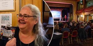Lena Byström, kultursamordnare på Östersunds kommun, är den som kommer att leda arbetet med den nya kulturstrategin. Såhär glad var hon över intresset från allmänheten på tisdagskvällen.
