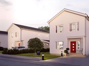 I den här stilen kommer några av bostäderna i etapp två att byggas. Foto: Obos Sverige AB.