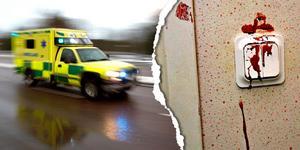 Ambulanspersonalen berättar i polisutredningen att de hade svårt att få stopp på en kraftig blödning som uppstått under den misstänkta misshandeln. Bild: TT och polisen