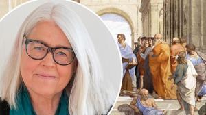 Historien började inte efter 1945 skriver Ulrika Knutson om  Skolverkets signal om att schemat i högstadiet inte räcker till undervisning i antikens historia längre. I bakgrunden, Rafaels målning av skola i Aten.