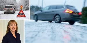 Vintern kommer i regel med oförutsägbart väglag som gör att trafikanten bör vara extra uppmärksam. Foto: TT, Trafikverket.