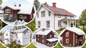 Detta bildmontage föreställer några av de mest klickade dalaobjekten på bostadssajten Hemnet under förra veckan. Läs mer om respektive hus här nedanför.