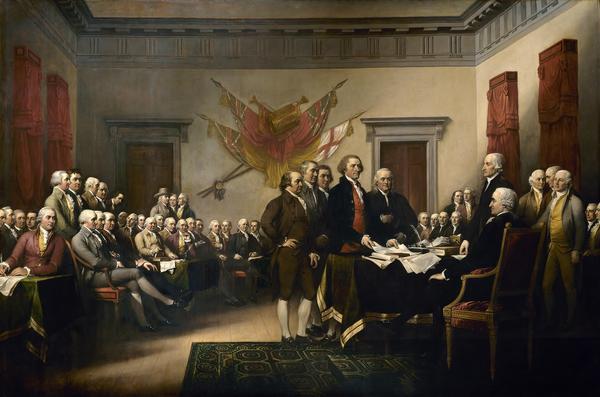 Benjamin Franklin, Thomas Jefferson, John Adams och de andra grundlagsfäderna utfärdar den amerikanska självständighetsförklaringen  den 4 juli 1776. Målning av John Trumbull från 1819.