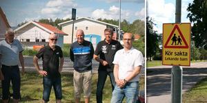 Kjell Johansson, Håkan Lindblom, Kalle, Kenth Eriksson och  Daniel Everitt är oroade över trafiken på Josefsdalsvägen.