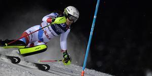 Holdener i eftermiddagens slalom. Bild: Pontus Lundahl/TT.