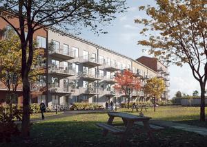 Så här är det tänkt att det nya flerfamiljshuset ska se ut från innergården. Skiss: Södergruppen arkitekter