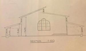 Skiss över hur den planerade kyrkan på Bäckby skulle kunna se ut .