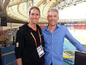 Sandra Wörding tillsammans med Jonathan Edwards under VM i Moskva.