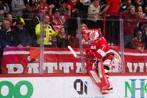 Brattström hoppar mot plexiglaset framför hemmasupportrarna.