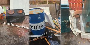 Foto: Från polisens förundersökning. Mannen dumpade skräp vid återvinningsanläggningen i Saltskog i oktober 2018.