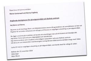 Skärmdump av Mats Ökvists öppna brev.